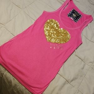 PINK gold glitter sequined tank top
